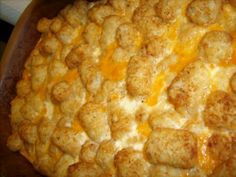 Breakfast Tater Tot Casserole!! Ingredients: 1 pound ground pork sausage cooked, 2-4 cups shredded cheddar cheese, 2 cups milk, 4 eggs, 2 pounds frozen Tater tots.  Directions: Preheat oven to 350°. Spread the sausage, bacon, or ham evenly in the bottom of a 9 by 13 inch pan. Spread cheese over meat, you can use 4 cups of cheese or less. In a large bowl, beat together milk and eggs. Pour over cheese. Top with frozen Tater tots. Bake in preheated oven for 45 minutes. Some ovens may take more…