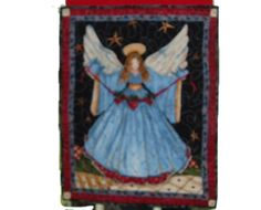 Angel Quilted Wall Hanging   •100% Cotton Fabric   •Smiling Angel with blue dress   •Special sewn area on back for easy hanging