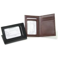 Beautiful Genuine Leather construction. Interior features an ID window, 4 credit card pockets and two additional pockets for your bills. Back side features an additional ID window.  Product Details Size : 4 1/8 x 3 x 3/8 Weight : 2 oz Materials : Genuine Leather