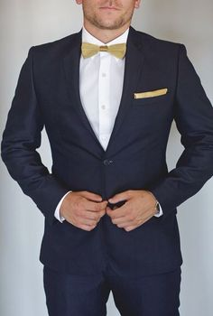 Navy Blue Suit with Gold Bow-Tie