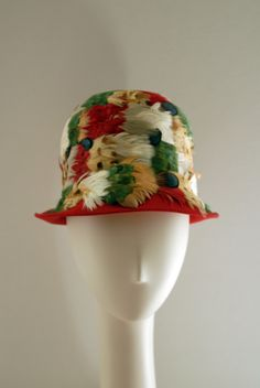 Schiaparelli, Red Wool Cloche with Multi Colored Feathers