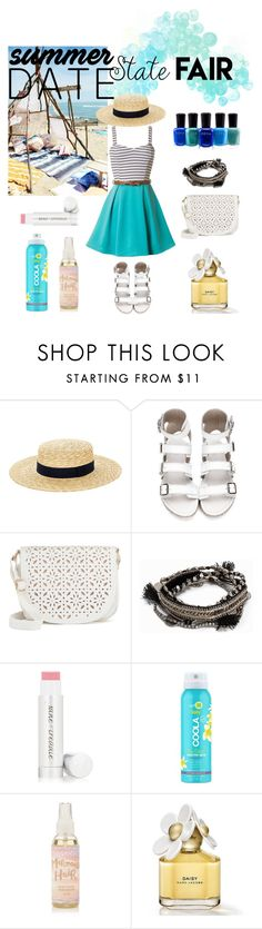 """""""summer date"""" by cindydelicia ❤ liked on Polyvore featuring Accessorize, Under One Sky, Pieces, Jane Iredale, COOLA Suncare, Zoya, statefair and summerdate"""