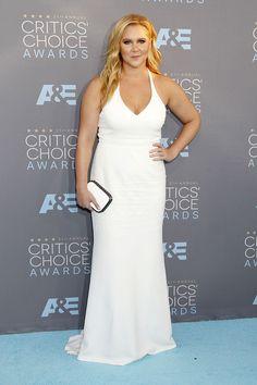 Amy Schumer White Mermaid Plus Size Celebrity Evening Dress Critics Choice