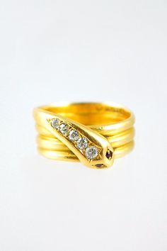 Antique 18k Victorian Snake Ring with Diamonds and Rubies