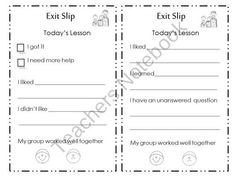 Free resource- Primary ticket out the door! Exit Slip for Primary Grades.
