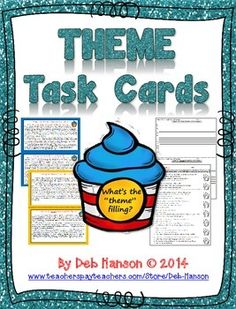 Theme Task Cards (Theme-Filled Cupcakes analogy): 16 story cards and two options for recording sheets (write your own theme or multiple choice).