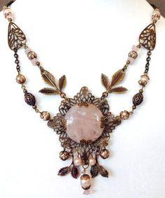 Amazing Rose Necklace with Rose Quartz Beads and Vintaj Brass.