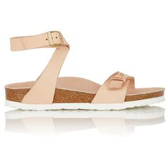 Birkenstock Women's Delhi Ankle-Strap Sandals (290 CAD) ❤ liked on Polyvore featuring shoes, sandals, nude, nude flat shoes, slip-on shoes, wrap sandals, birkenstock sandals and ankle tie flat sandals