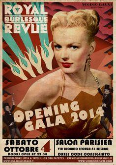 ★ Opening Gala ★ Royal Burlesque Revue ★ Sabato 4 Ottobre @ Salon Parisien, Milano Sabato 4 Ottobre Il migliore show Retrò, Burlesque e Cabaret di Milano is back! www.royalburlesque.it www.facebook.com/royalburlesquerevuemilano  Art work by Voodoo De Luxe ©