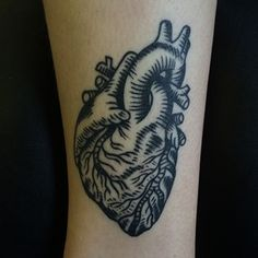Or a simple anatomically-correct heart. | 49 Bloody Brilliant Black And Grey Tattoo Ideas