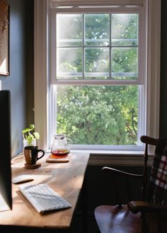"""This little desk space looks so relaxing. Keeping the window open is very relaxing and stimulating, especially in the fall. A cool breeze can help you from getting  stressed out over deadlines or writer's block. I would love a writing space like this."""