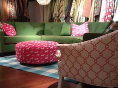 Norwalk has some of the most luxurious and inspiring fabrics! What do you think of this color combo? #pink #green #hpmkt
