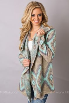 You Got Me Printed Cardigan in Mint