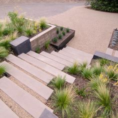 Modern Landscape Stairs Design, Pictures, Remodel, Decor and Ideas - page 8 Succulent Landscaping, Modern Landscaping, Backyard Landscaping, Landscaping Design, Backyard Designs, Modern Backyard, Landscaping Software, Landscape Stairs, Landscape Plans