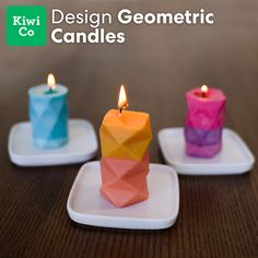 Geometric Candles by Doodle Crate Create a trio of geometric candles to decorate the house! With this candle making kit, learn how to fold a geometric mold, dye some wax, and transform the wax into a candle. Diy Candles Video, Diy Candles Easy, Making Candles, Diy Candle Ideas, Diy Candles To Sell, Unique Candles, Homemade Scented Candles, Candle Craft, Diy Gifts