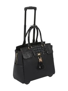 4201313da21 Arrive in style with this lovely tooled rolling tote carryall bag. Perfect  for the office