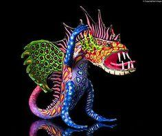ALEBRIJE Hand Made Paper Mache Green Wings Fantastic Mexican Folk Art Dragon