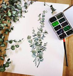 "Gefällt 2,144 Mal, 54 Kommentare - Illustrator Mina Park 미나뜨 (@minartillust) auf Instagram: ""베이비블루 유칼립투스 Baby Blue Eucalyptus with no sketch 언제나 결국 시들고나서 부랴부랴 . . *11월 수채화클래스 블로그에서 모집중 *2018…"""