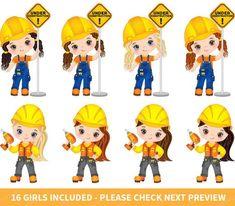 Construction Girls Clipart Vector Construction Clipart Girl | Etsy Construction For Kids, Construction Birthday Parties, Construction Theme, Clipart Chica, Girl Clipart, Superman Cake Topper, Girls Clips, Clip Art, Flower Doodles