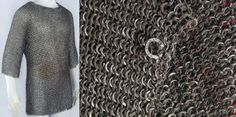 European riveted mail hauberk, Augsburg, Germany, late 14th century or early 15th century. Low-carbon steel and copper alloy. Length: 73.7 cm. Diameter: 1.11 cm, rings. Weight: 4.479 kg. The Wallace collection. Q1.