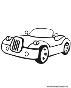 For Children Who Love Cars This Printable Coloring Sheet Activity Of A Cartoonish Convertible Is Wonderful Option