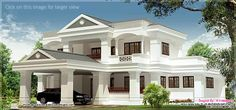 3100 square feet 5 bedroom Luxury sloping roof villa design by R it designers, Kannur, Kerala House Balcony Design, Bungalow House Design, House Front Design, Dream House Exterior, House Elevation, Mansions Homes, Villa Design, Architect House, Model Homes