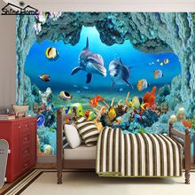 New Cool Undersea Fish World 3D Wallpaper for Wall 3 d Flooring Photo Wallpaper Printed for Livingroom Mural Rolls Kids Bedroom(China (Mainland))