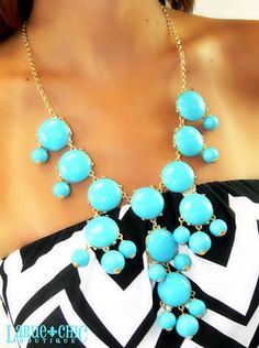 BUBBLE NECKLACE OCEAN BLUE | LaRue Chic Boutique