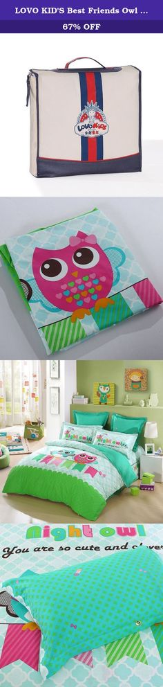 LOVO KID'S Best Friends Owl 100% Cotton 4-Piece Bedding Set Duvet Cover Fitted Sheet 2x Shams Full. This set excludes comforter. Specifications Material: 100% cotton Description Including: Duvet Cover*1, Fitted Sheet*1, Pillowcase*1 Suitable Season: All Seasons Available Color: Same as Picture Environmental And Original Design All the products are printed environmentally, and they are safe and healthy which can meet the children's needs. The children won't allergy even he has a sensitive...