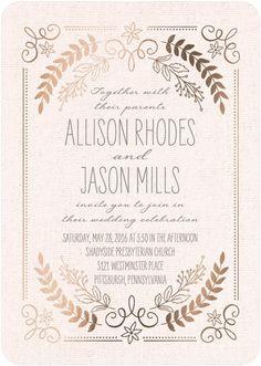 Rustic Wreaths - Signature Foil Wedding Invitations - Sarah Hawkins Designs//