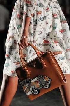 Vintage -car- inspired fashion from Prada for Spring 2012. #fashion