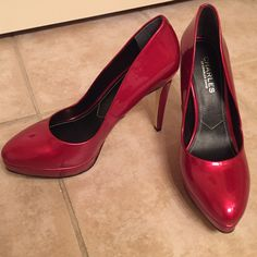 Brand new Charles by Charles David platform pumps Red patent leather platform pumps. Never worn and excellent condition Charles David Shoes Heels