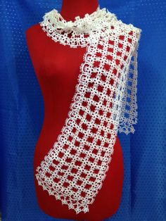 Gorgeous work! Look at that! No, seriously, LOOK AT IT. That is an amazing tatted lace scarf.