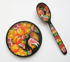 Vintage Russian Hand Painted Lacquer Ware Wooden by TheHiddenGrove