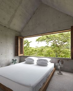 The bedroom is on a mezzanine level and features a generous window framing the wilderness beyond. Photography: Edmund Sumner