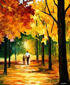 Stroll In The Forest — PALETTE KNIFE Oil Painting On Canvas By Leonid Afremov