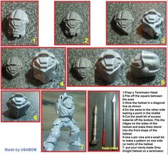 Converting the terminator helmets; shoulder bits for Space Wolves.