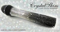 Crystal bling sparkly microphone made with Swarovski® Elements by CrystalSkins christmas sparkle white glitter