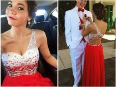 amazing beading one-shoulder prom dress evening dress,2015 A Line Amazing Beading One-Shoulder Prom Dress Red Long Chiffon Backless Evening Dresses For Senior Teens