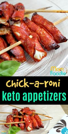 Keto Appetizers - Chicken Pepperoni Appetizers, Low Carb appetizers ketogenic diet Chick-a-Roni Skewers: Keto Appetizers Ketogenic Recipes, Diet Recipes, Healthy Recipes, Slimfast Recipes, Ketogenic Diet, Yam Recipes, Vegetarian Recipes, Dukan Diet, Vegetarian Cooking