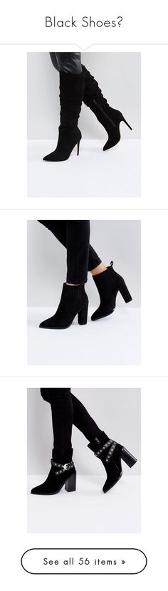 """""""Black Shoes🖤"""" by izzystarsparkle ❤ liked on Polyvore featuring shoes, boots, black, black knee length boots, black knee-high boots, black boots, slouchy knee high boots, high heel boots, ankle booties and black ankle booties"""