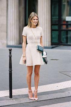Vestido corto ASOS Mini Bardot: Un vestidito ideal para el civil en beige combinado con zapatos en rosa cuarzo. Swoon!!