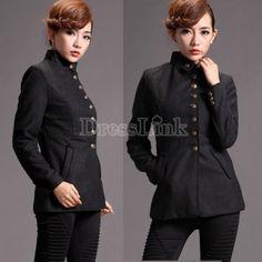 Women's Slim Fit Stand Up Collar Winter Woolen Trench Coat Jacket Outwear