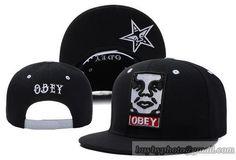 OBEY Snapback Hats Flat Hat Adjustable Caps Visorunder Logo Black Shops 38808f92ec41