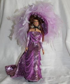 "12"" OOAK Fashion Doll Purple Crochet Crocheted and Sequined, Beaded Gown & Hat"