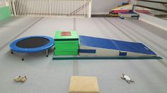 """Preschool Gymnastics: September 2015 Week 5 """"Wild West!"""" Donkey kicks on the trampoline with hands on the block, forward roll down the cheese mat."""