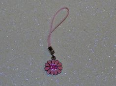 "ADORABLE SMILEY FACE FLOWER CELL PHONE CHARM-LIGHT PINK-3 1/4"" LONG-& FREE GIFT-$3.99 