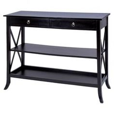"Bring heirloom-worthy charm to your home with this chic accent, artfully crafted for lasting appeal.Product: Console tableConstruction Material: Wood  Color: Black  Dimensions: 36.8"" H x 46.8"" W x 16.8"" DCleaning and Care: Wipe with a dry cloth"
