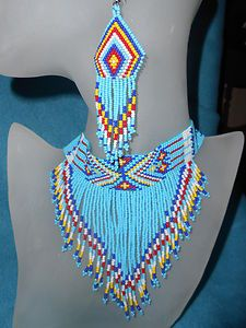 native american beaded chokers | Native American Style Beaded- Multi-Color Choker Necklace and Earring ...