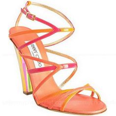 Jimmy Choo Hot Pink Strappy Leather Poppy Sandals